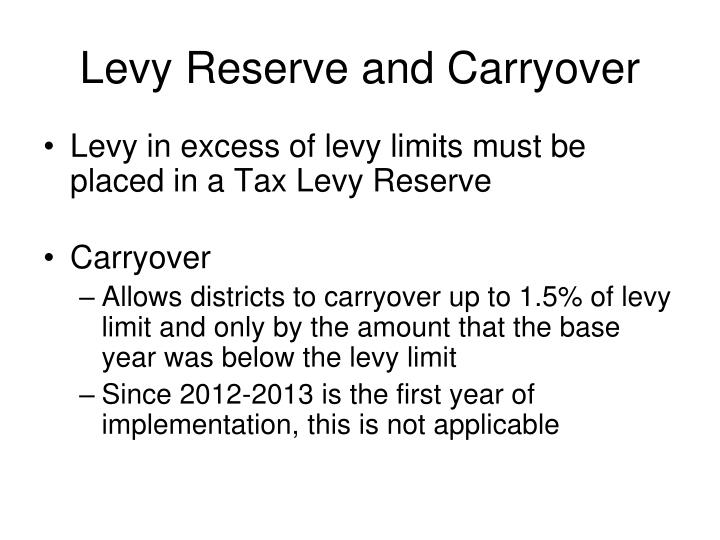 Levy Reserve and Carryover