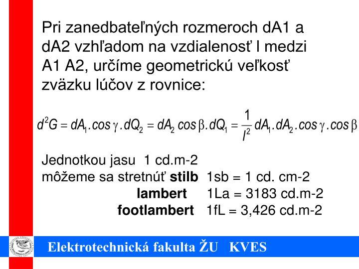 Pri zanedbateľných rozmeroch dA1 a dA2 vzhľadom na vzdialenosť l medzi A1 A2, určíme geometrickú veľkosť zväzku lúčov z rovnice: