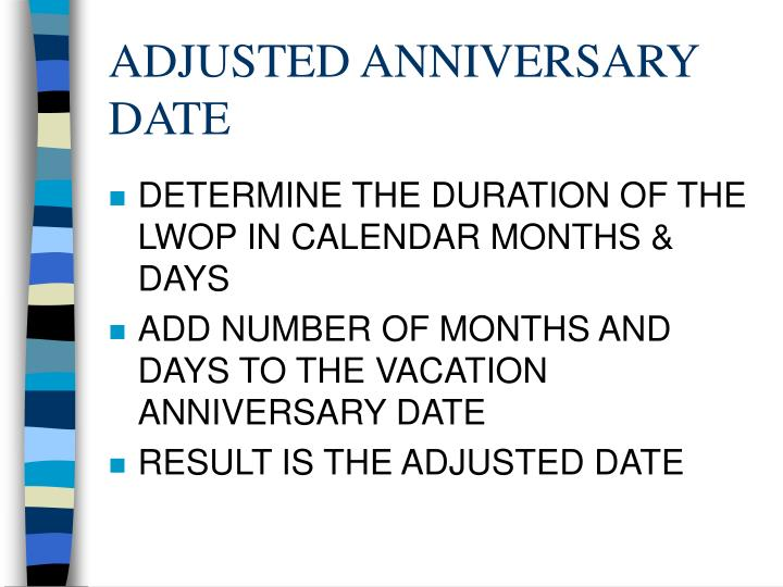 ADJUSTED ANNIVERSARY DATE