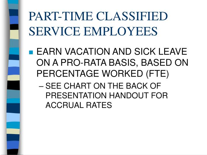 PART-TIME CLASSIFIED SERVICE EMPLOYEES