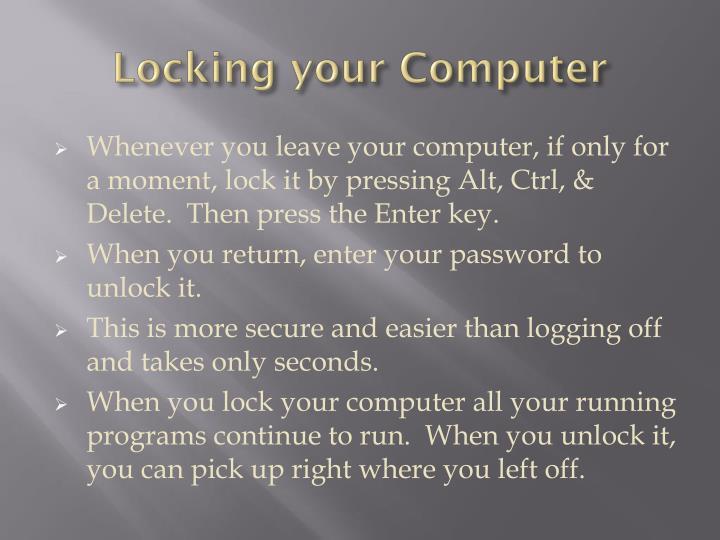 Locking your Computer