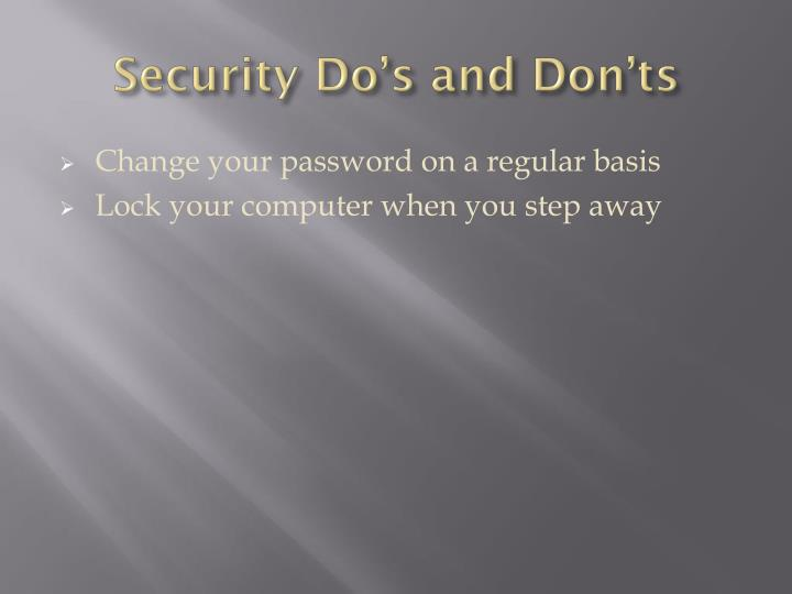 Security Do's and Don'ts