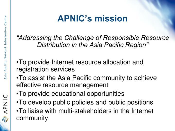 APNIC's mission