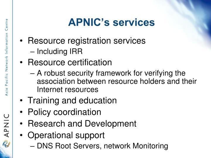 APNIC's services