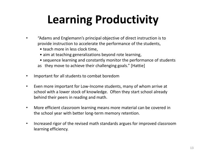 Learning Productivity