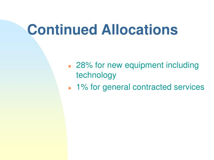 Continued Allocations