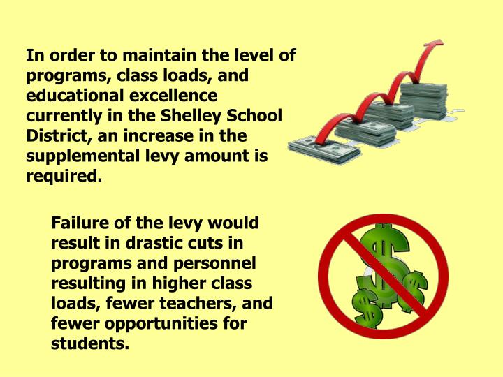 In order to maintain the level of programs, class loads, and educational excellence currently in the Shelley School District, an increase in the supplemental levy amount is required.