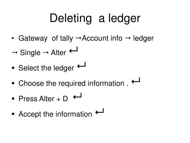 Deleting  a ledger