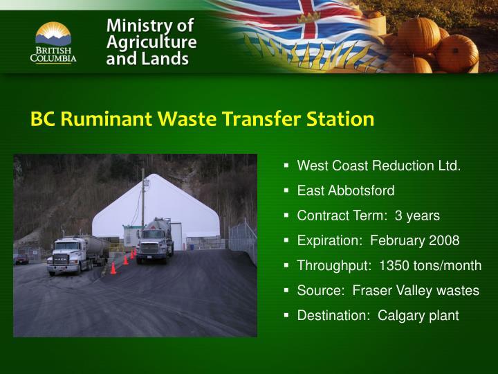 BC Ruminant Waste Transfer Station