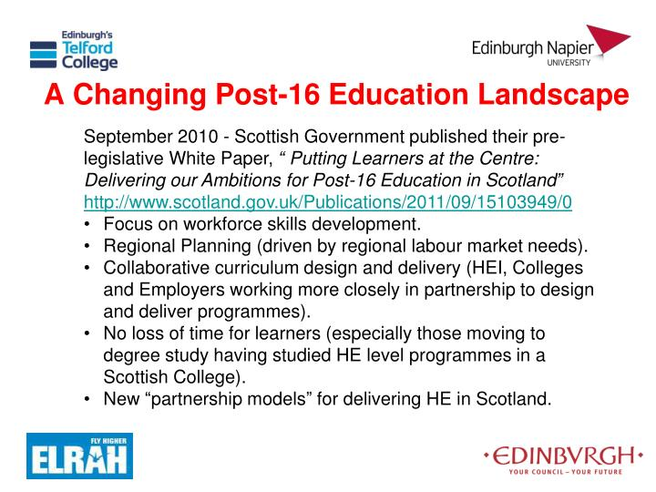 A Changing Post-16 Education Landscape