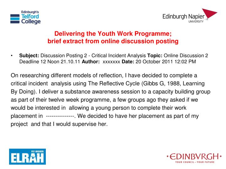 Delivering the Youth Work Programme;