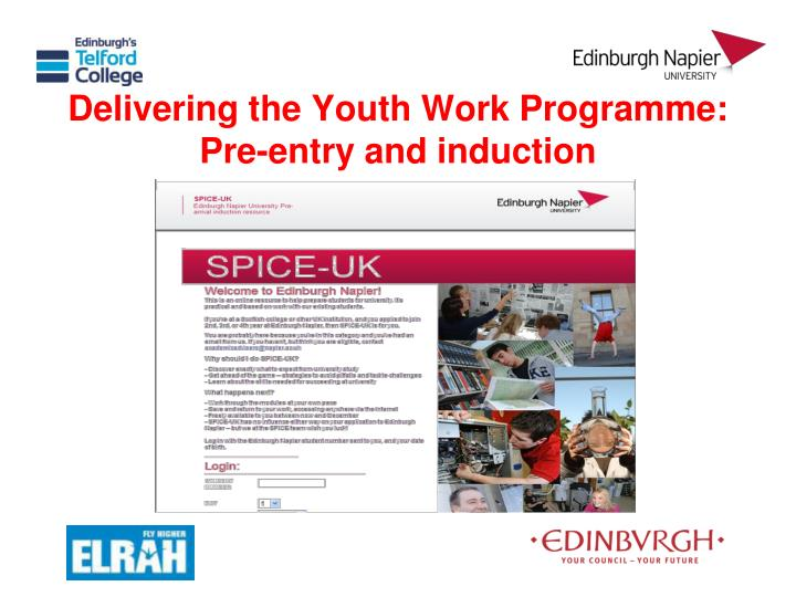 Delivering the Youth Work Programme: Pre-entry and induction
