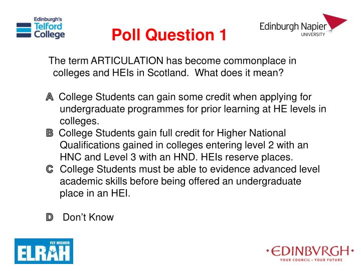 The term ARTICULATION has become commonplace in colleges and HEIs in Scotland.  What does it mean?