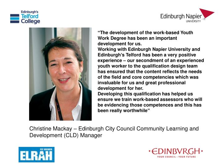 """The development of the work-based Youth Work Degree has been an important development for us."