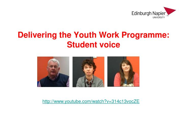 Delivering the Youth Work Programme: