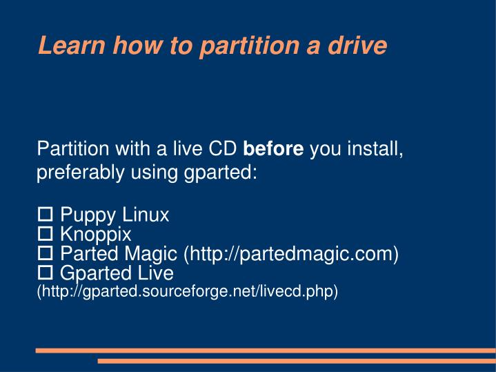 Partition with a live CD