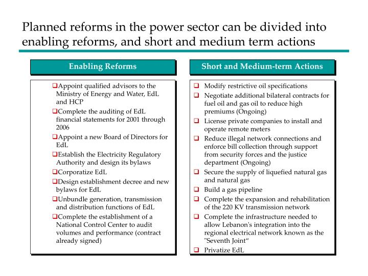 Planned reforms in the power sector can be divided into enabling reforms, and short and medium term actions