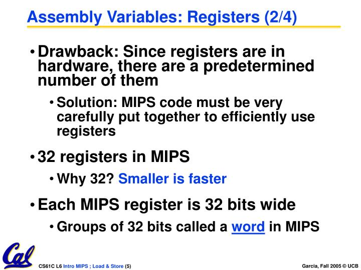 Assembly Variables: Registers (2/4)