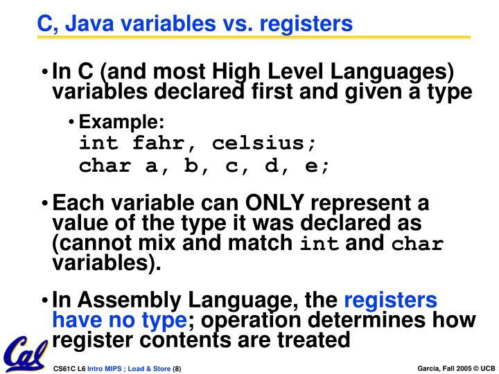 C, Java variables vs. registers