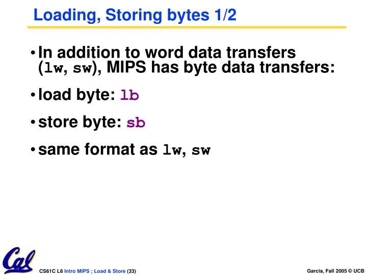 Loading, Storing bytes 1/2