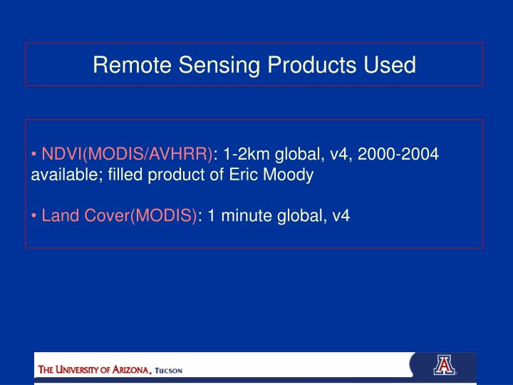 Remote Sensing Products Used