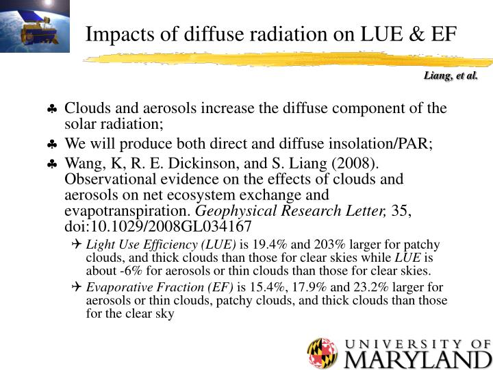 Impacts of diffuse radiation on LUE & EF