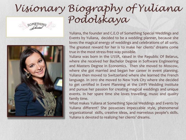 Visionary Biography of Yuliana Podolskaya