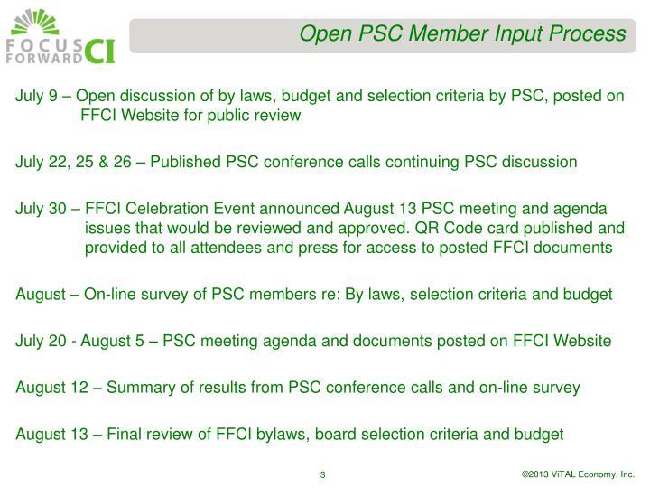 Open PSC Member Input Process