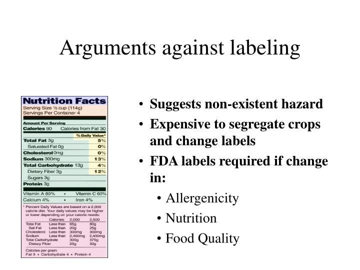 Arguments against labeling