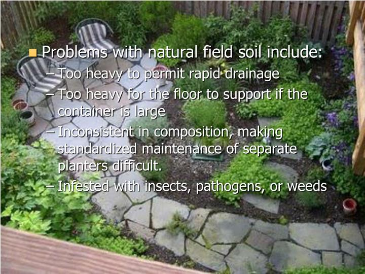 Problems with natural field soil include: