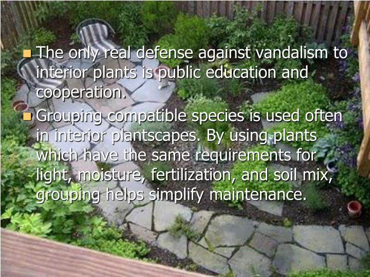 The only real defense against vandalism to interior plants is public education and cooperation.