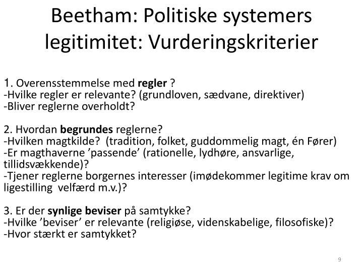 Beetham: Politiske systemers legitimitet: Vurderingskriterier