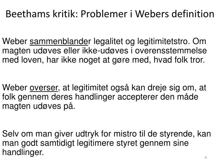 Beethams kritik: Problemer i Webers definition