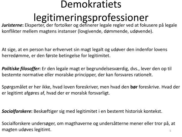Demokratiets legitimeringsprofessioner