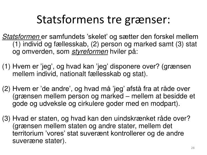 Statsformens tre grænser: