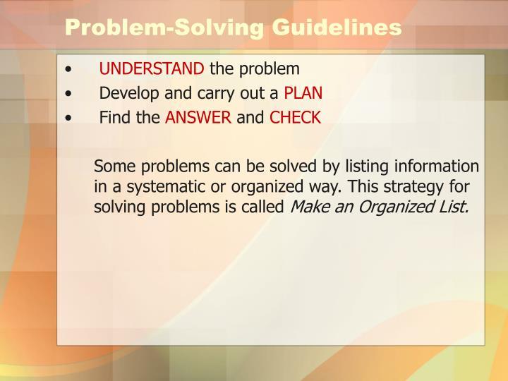 Problem-Solving Guidelines