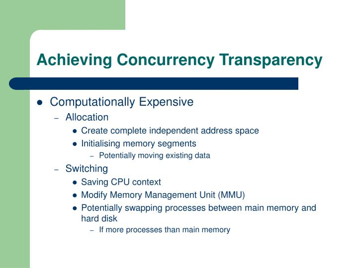 Achieving Concurrency Transparency