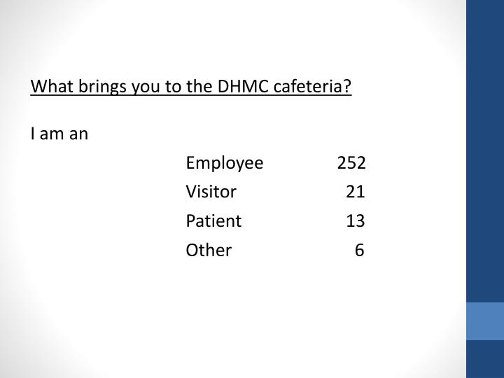 What brings you to the DHMC cafeteria?