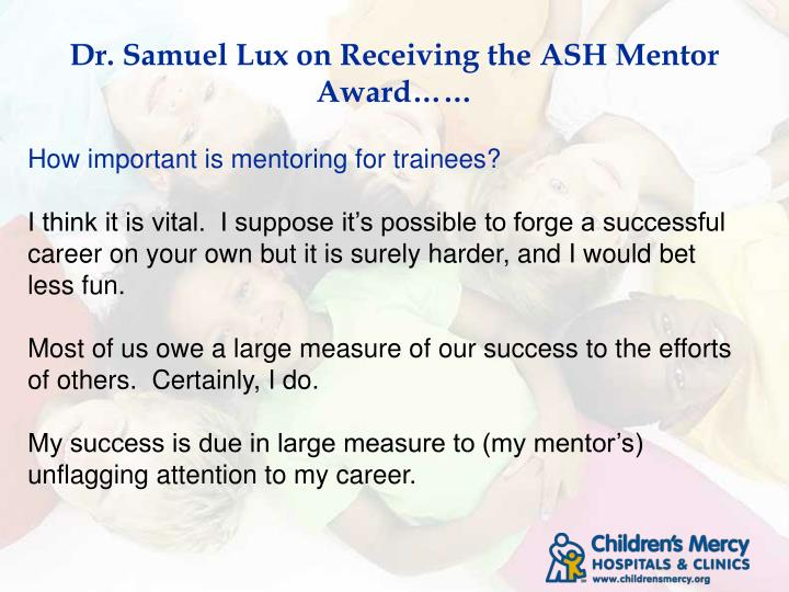 Dr samuel lux on receiving the ash mentor award1