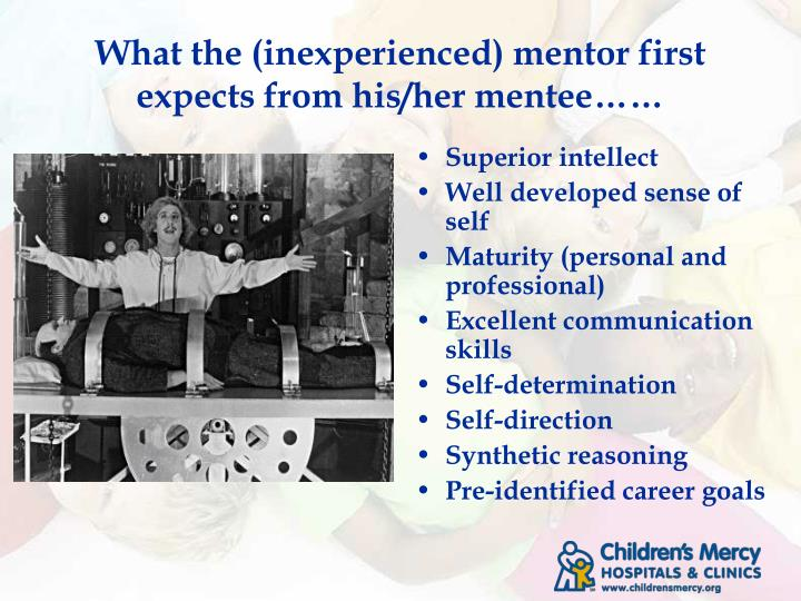 What the (inexperienced) mentor first expects from his/her mentee……