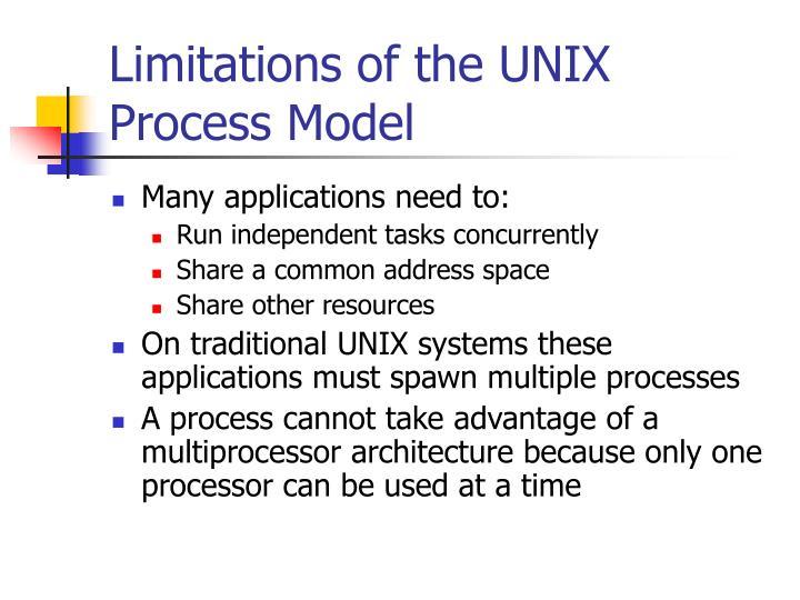 Limitations of the UNIX Process Model