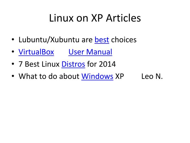 Linux on XP Articles