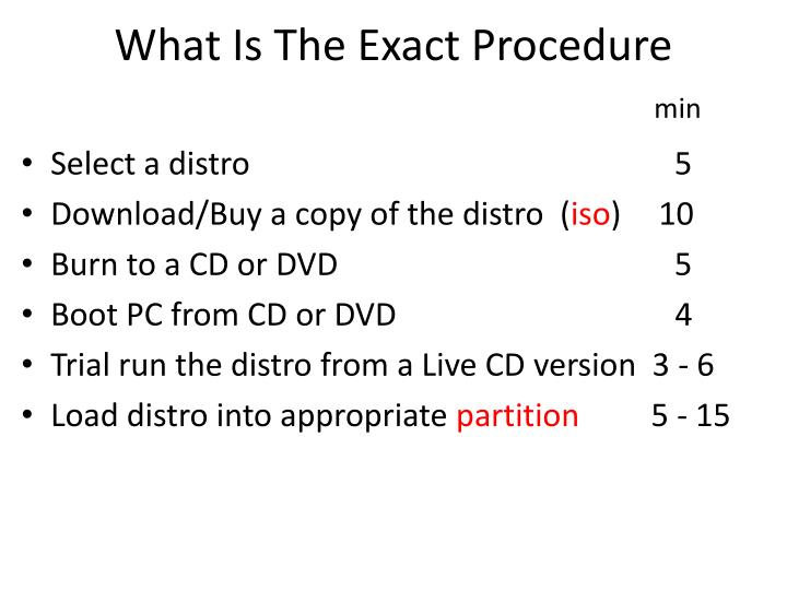 What Is The Exact Procedure