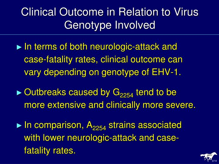 Clinical Outcome in Relation to Virus Genotype Involved