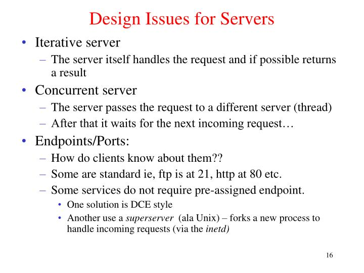 Design Issues for Servers