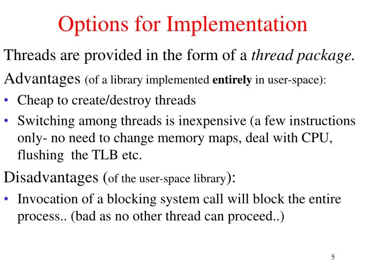 Options for Implementation