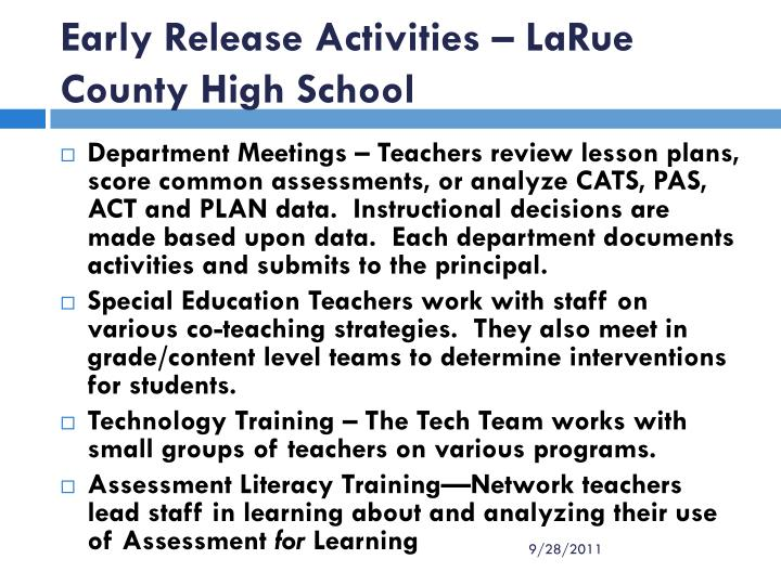 Early Release Activities – LaRue County High School