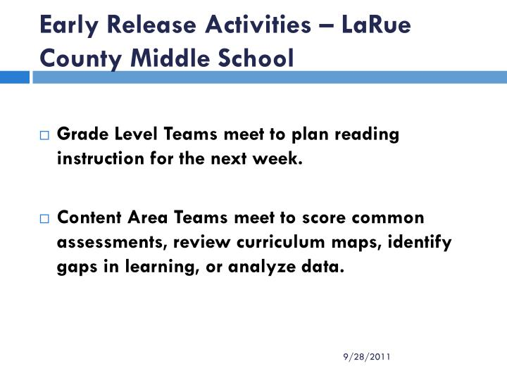 Early Release Activities – LaRue County Middle School