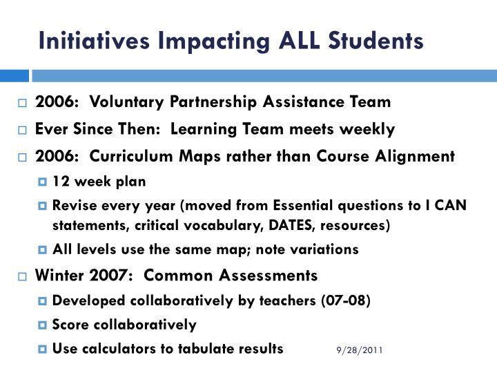 Initiatives Impacting ALL Students