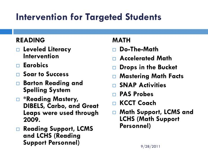 Intervention for Targeted Students